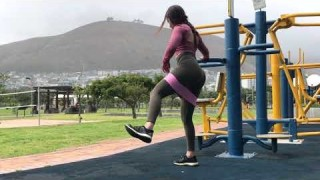 Standing Hip Abduction (Left) with Resistance Band – Booty Band Exercises – Zaksy.com